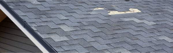 missing asphalt shingles